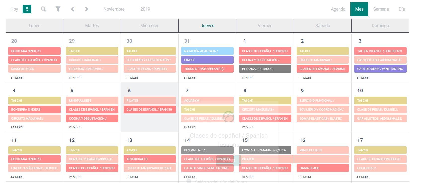 Calendario actividades animación Bonterra Park
