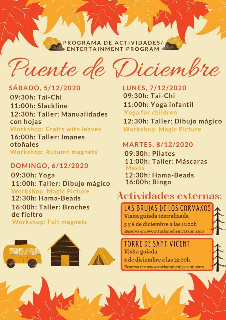Programa de actividades Puente de diciembre